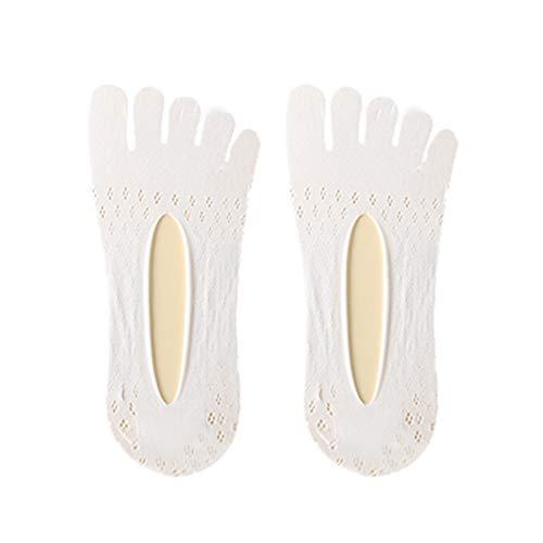 Calcetines de cinco dedos de terciopelo de malla ultra baja con forro de gel Tab transpirable calcetines invisibles para mujer verano