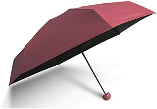 ZJJJD Paraguas Capsule Paraguas Mini Sombrilla Sunshine Ultraligero Protección Ultravioleta Pequeño Bolsillo Paraguas Plegable Plegable Lluvia Doble Uso Mujer-Rojo Hermoso Paraguas Flexible Duradera