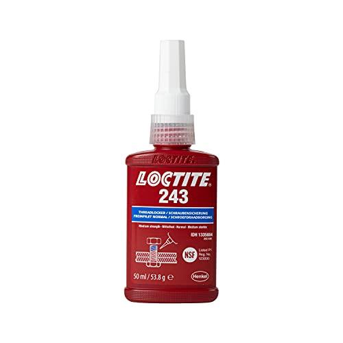 LOCTITE 243, universell einsetzbarer Kleber für die Sicherung von Schrauben, mittelfeste Schraubensicherung für Metallgewinde, Flüssigkleber für z. B. Pumpen, 1x50ml