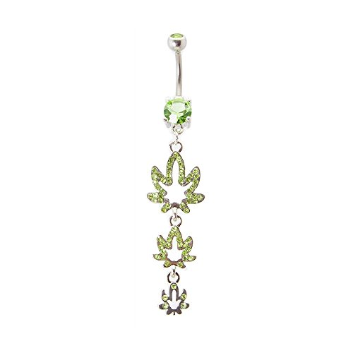 """Body Piercing Curved Barbell 14gauge-3/8""""(10mm)length Dangle-style Belly Navel Ring with Pot Weed Leaves - N101390 By Eg Gifts"""