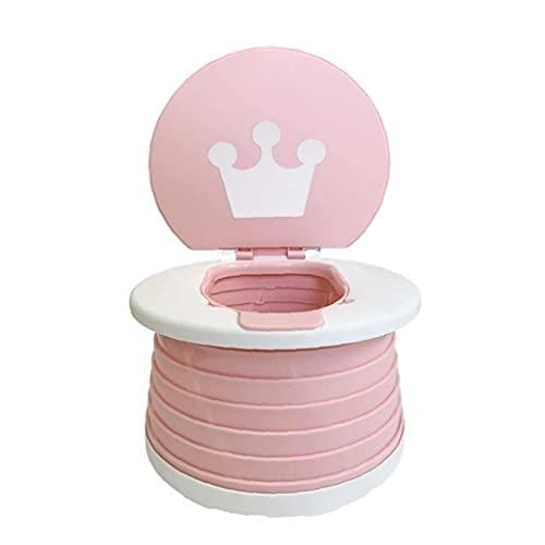 Obelunrp Aseo para Niños Viajes Potty Portátil Plegable Toddlers Entrenamiento Asiento De Inodoro para Camping Pink