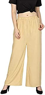 Style ICON Women's Rayon Narrow Bottom Palazzo Trousers Having Pockets on Both Side, Plain Colour with Elastic Waist - Mul...