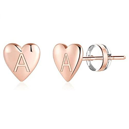 Pendientes de botón con inicial de corazón para niñas S925 Pendientes con letras delicadas de plata esterlina Pendientes con iniciales pequeños para mujeres y niñas (Oro)