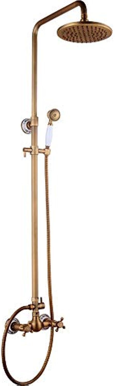 Badezimmer-Küche-Wannen-Hahn, neuer europischer Stil Retro Style Alles Messing Multi-Layer einfach Gelb Duscharmatur-Hand Wand-Duscharmatur