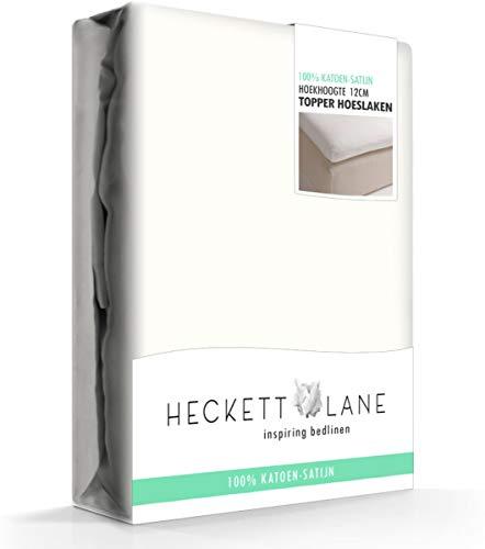 Heckett Lane Uni Satijn Hoeslaken Topper 90x210-220+12 cm - Off-white