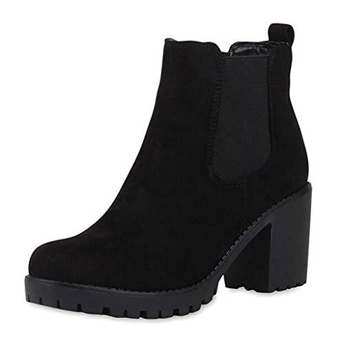 Stiefel Frauen Mode Square Heels Slip-On einfarbige Kurze runde Zehen Schuhe (38,Schwarz)