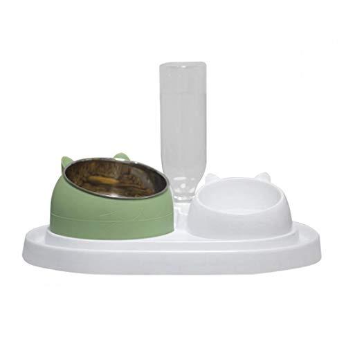 Botella de Pet vibratorio Agua Comida para Gatos comedero para Mascotas alimentador automático Transparente para Mascotas Pequeña Mediana Accesorios Verde del Gato