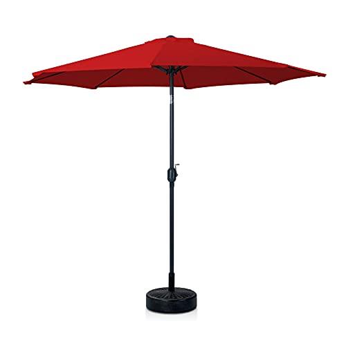 Skylantern - Sombrilla derecha octogonal de 300 cm de diámetro con pie de sombrilla – Sombrilla recta con mate central 3 x 3 m, color rojo de acero tratado – Sombrilla para playa, balcón y terraza