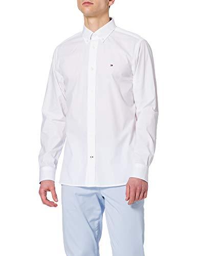 Tommy Hilfiger Natural Soft Poplin Shirt Camisa, Blanco, XL para Hombre