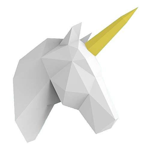WLL-DP Cabeza De Unicornio Escultura De Papel 3D Precortada Artesanía De Papel Hecha A Mano DIY Origami Puzzle Modelo De Papel Juguete De Papel Decoración De Pared Geométrica, para Niños Adultos