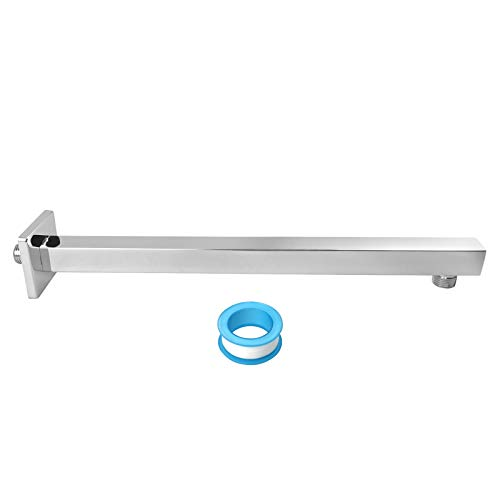 NearMoon 16 Inch Shower Arm, Rain Shower Head Extension Extender, With Flange and Teflon Tape, Made of Thicken Stainless Steel for Bathroom Rainfall Showerhead (Chrome Finish)