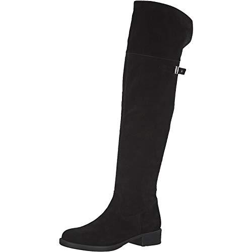Tamaris Damen Stiefel 75811-23, Frauen Overknee Stiefel, Overknee-Boots lederstiefel Flacher Absatz reißverschluss Damen Frauen,Black,36 EU / 3.5 UK