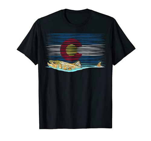 Brown Trout Colorado Flag Vintage Fly Fishing Tying Graphic T-Shirt