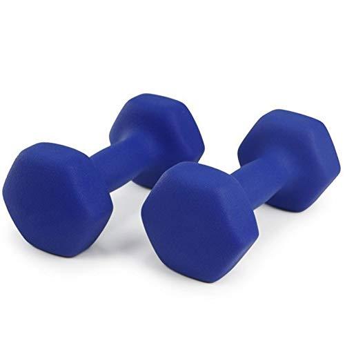 LUSTAR Un Par de Mancuernas Hexagonales de Neopreno, Azul para Entrenamiento de Levantamiento de Pesas, Gimnasio en Casa,1 KG, 1,5 KG, 2 KG, 3 KG, 4 KG, 5 KG,Blue-(4kg*2)