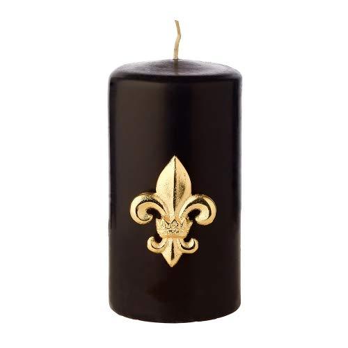 EDZARD 4er Satz Kerzenpin Kerzenstecker Lilie, Aluminium vernickelt, goldfarben, Höhe 6,5 cm
