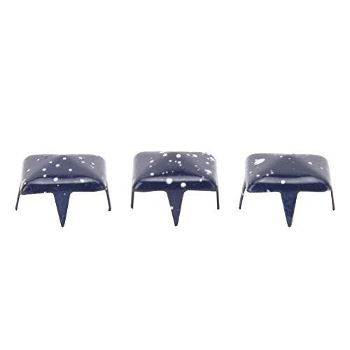 HEEPDD 200 Piezas de Remaches Cuadrados, espárragos de Punta Cuadrada de 9 mm DIY Remaches de Cuero de Cuero Bolsa de Ropa de Cuero Bolsa(Punto Azul Inferior Blanco Profundo)