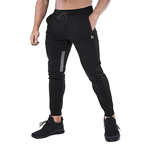 FEDTOSING Herren Jogginghose Baumwolle Fitness Sporthose Trainingshosen Slim Fit Hose Joggers StreetwearFreizeithose Black M