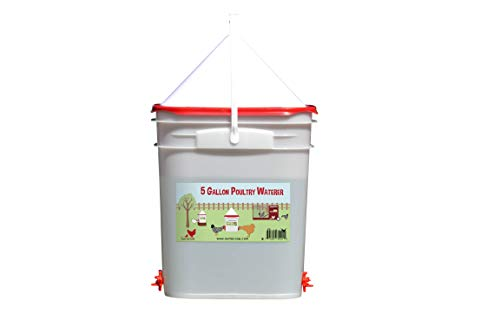 5 Gallon Chicken Waterer - 4 Horizontal Side Mount Poultry Nipples (Center)