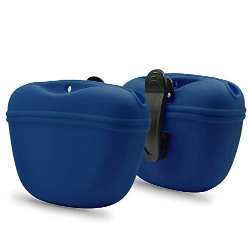 AUDWUD - Silikon Hund Leckerli Tasche - Clip On Tragbarer Trainingsbehälter - Praktische Magnetschnalle Verschluss und Taille Clip - BPA frei, Marineblau + Marineblau
