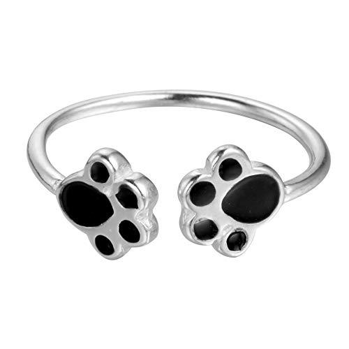 Encantador anillo abierto de plata de ley 925 con dos huellas de cachorro