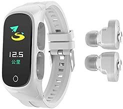 N8 2 in 1 Smart Bracelet TWS Wireless Bluetooth Headset Combo Wireless Earphone Smart Watch Bluetooth Call Heart Rate Blood Pressure Sleep Monitor Women Men Sport Smart Band (White)