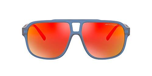 AX Armani Exchange Ax4104s anteojos de sol rectangulares para hombre, Azul/Gris Oscuro Rojo Espejado/Amarillo, 61 mm