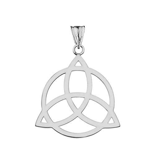 Elegant 10k White Gold Celtic Trinity Knot Circle of Life Silhouette Pendant