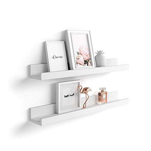 Mobili Fiver, Par de estantes para Cuadros, Modelo First, 80 cm, Color Fresno Blanco, Aglomerado y Melamina, Made in Italy