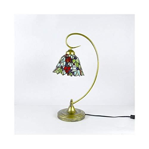 Lámpara de mesa brazo doblado final del bronce con Tiffany estilo de hoja verde Escritorio lámpara-