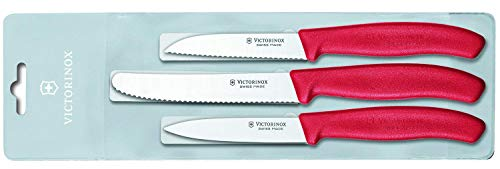 Victorinox Swiss Classic Gemüsemesser-Set, 3-tlg., Gemüsemesser Wellenschliff 8 cm, Gemüsemesser 8 cm, Tomatenmesser 11 cm