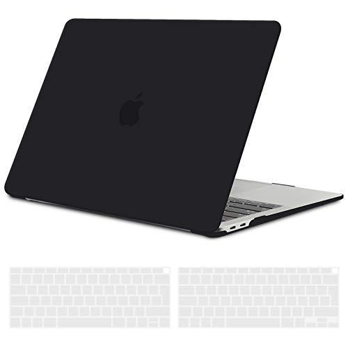 TECOOL Coque MacBook Air 13 Pouces 2020 2019 2018 (Modèle: A2337 M1/A2179/A1932), Plastique Mat Rigide Étui avec EU Protection Clavier pour Nouveau MacBook Air 13.3 Retina avec Touch ID - Noir