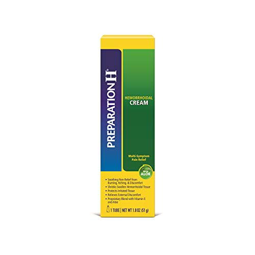 PREPARATION H Hemorrhoid Symptom Treatment Cream, Multi-Symptom Pain Relief with Aloe, Tube (1.8 Ounce)