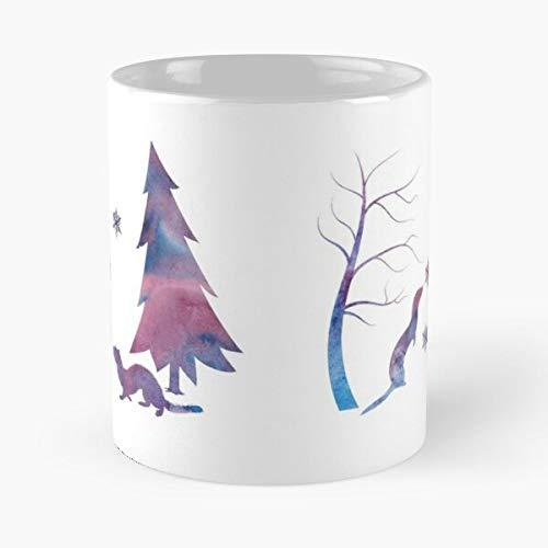 Acuarela Animales Hurones Silueta Carrones Cool Vida Silvestre Comer Comida Bite John Best Taza de café de cerámica de 325 ml