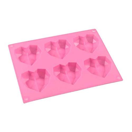 ADosdnn 6 Cavity Diamond Love Silicone Gâteau Moule Silicone 3D Shape Shape Moule Fondant gâteau au Chocolat Cuisson de Cuisson à pâte à Cuisson de modélisation Moules de gaufres (Color : Pink)