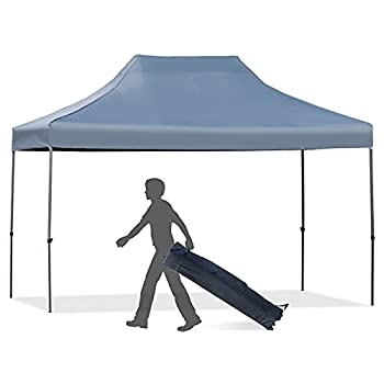 Outsunny 10  x 15  Heavy Duty Pop Up Canopy Gazebo with 3-Level Adjustable Height Wheeled Roller Bag UV Fighting Roof Grey