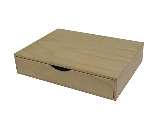 Einzelne Holzschublade – Schreibtischaufbewahrung A4 Basteln Decoupage unlackiert breit
