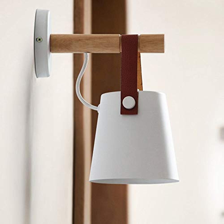 SMACO LED Wandlampen mit Stecker Wohnzimmer Holzgürtel Wandleuchte Nachttischlampe Schlafzimmer,Weiß