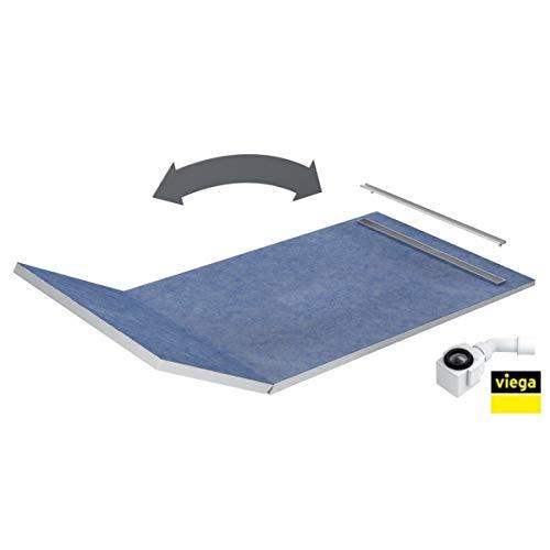 Duschelement 130+50x90x5/10,5cm PLATE Duschboard Extra Flach Beflisbar Duschrinne 3cm Abdeckung Ablauf Viega SLIM LUX
