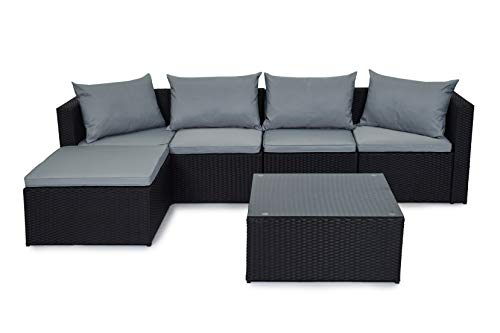 Evre Rattan Outdoor Garden Furniture Set Miami Sofa Coffee Table, Foot Stool Rattan (Black)