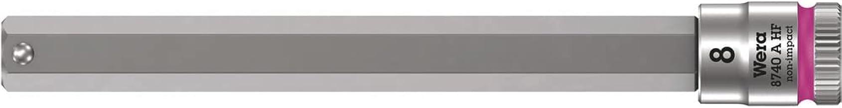 """Wera 05003340001 8740 A HF Zyklop Bitnuss z napędem 1/4"""" z funkcją przytrzymania, 8,0 x 100 mm, różowy"""