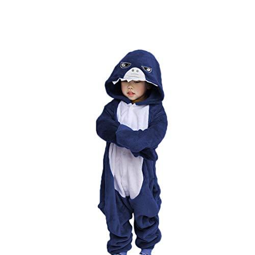 Debaijia Kinder-Pyjama aus Flanell/ Jumpsuit für Jungen und Mädchen, Warme Nachtwäsche, 3 bis 11Jahre Gr. 145(Hauteur recommandée: 159-168cm), Blauer Hai