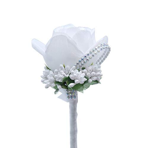 Demarkt Künstliche Rose Boutonniere Hochzeit Braut Blumen Anstecker Brautaccesoires Weiss