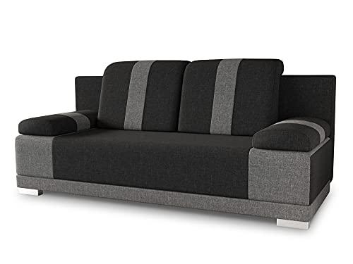 Sofa mit Schlaffunktion Imola - Schlafsofa mit Bettkasten, Couch, Bettsofa, Polstersofa, Klappsofa, Sofagarnitur (Schwarz (Sawana 14 + Sawana 05))