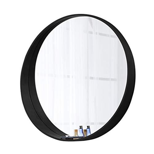 Miroir Rond Noir/Miroir Plat Fixé Au Mur, Miroir De Maquillage, Miroir à Pansement/Verre Trempé, Miroir Moderne à Cadre en Bois/pour Chambre Salle De Bains Coiffeuse