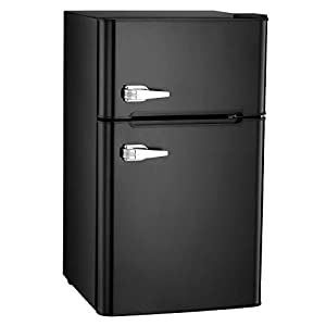 Bossin 3.2 CU. FT Compact Refrigerator 2 Door MIni Fridge Chiller and Freezer Compartment with Removable Glass Shelves Small Drink Food Storage Cooler for Office, Dorm, Apartment, Bedroom(Black)