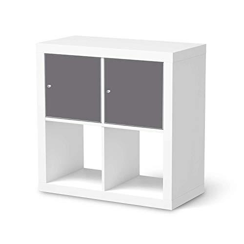 creatisto Möbeltattoo passend für IKEA Kallax Regal 2 Türen Quer I Möbelaufkleber - Möbel-Folie Tattoo Sticker I Wohn Deko Ideen für Esszimmer, Wohnzimmer - Design: Grau Light