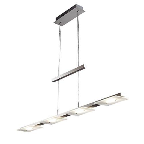 B.K.Licht I LED Pendelleuchte inkl. 4x 4,5W Platinen I Höhenverstellbar I 3.000K warmweiß I Länge: 85cm I Echtglas I Matt-Nickel I Deckenlampe