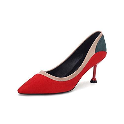 Damen Pumps mit spitzer Spitze und Stöckelabsatz im Retro-Damenschreibtisch, hochhackige Schuhe
