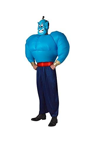 Rubie's Offizielles Erwachsenenkostüm, Design: Genie/Aladdin, aufblasbares Torso-Kostüm, Einheitsgröße, Blau/Schwarz