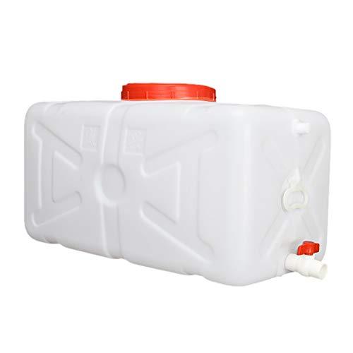 Depósito De Agua Engrosada Con Grifo, Cubeta De Plástico Horizontal Para El Hogar, Recipiente De Almacenamiento De Agua Rectangular Al Aire Libre Con Tapa, Antienvejecimiento, Blanco ( Size : 30L )